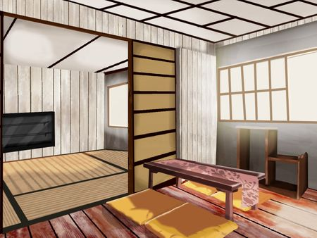 Concept Art Interior Japanese salon-Enviroment