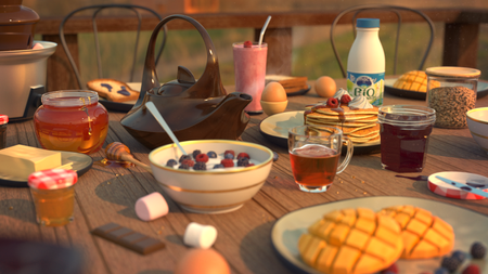 Breakfast as the sun rose