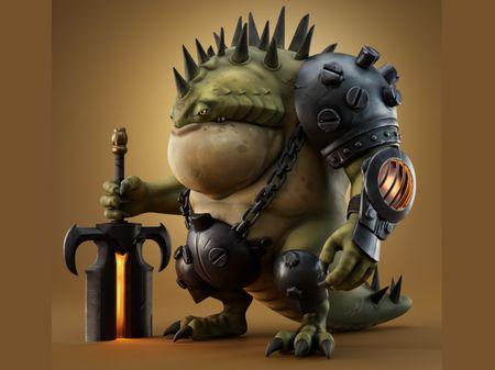 Stylized lizard soldier