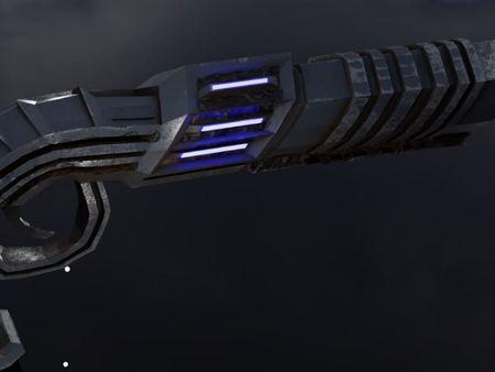 stylized futuristic revolver