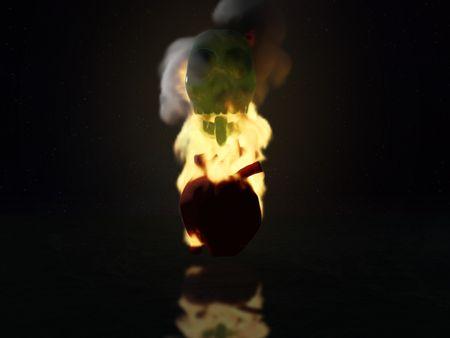 Jade Skull and flaming heart