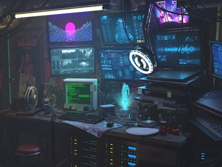 Cyberpunk workshop interior