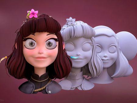 Cartoon Girl and Sculpted Hair