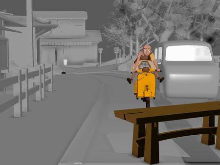 Cartoon Animation Scooter