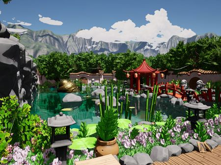 Stylized Chinese Garden Environment UE4