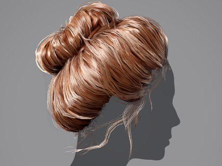 High bun Hair for games