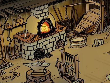 Medieval wheel shop