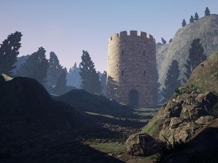 Final Render of Mountainous Area with Castle towers