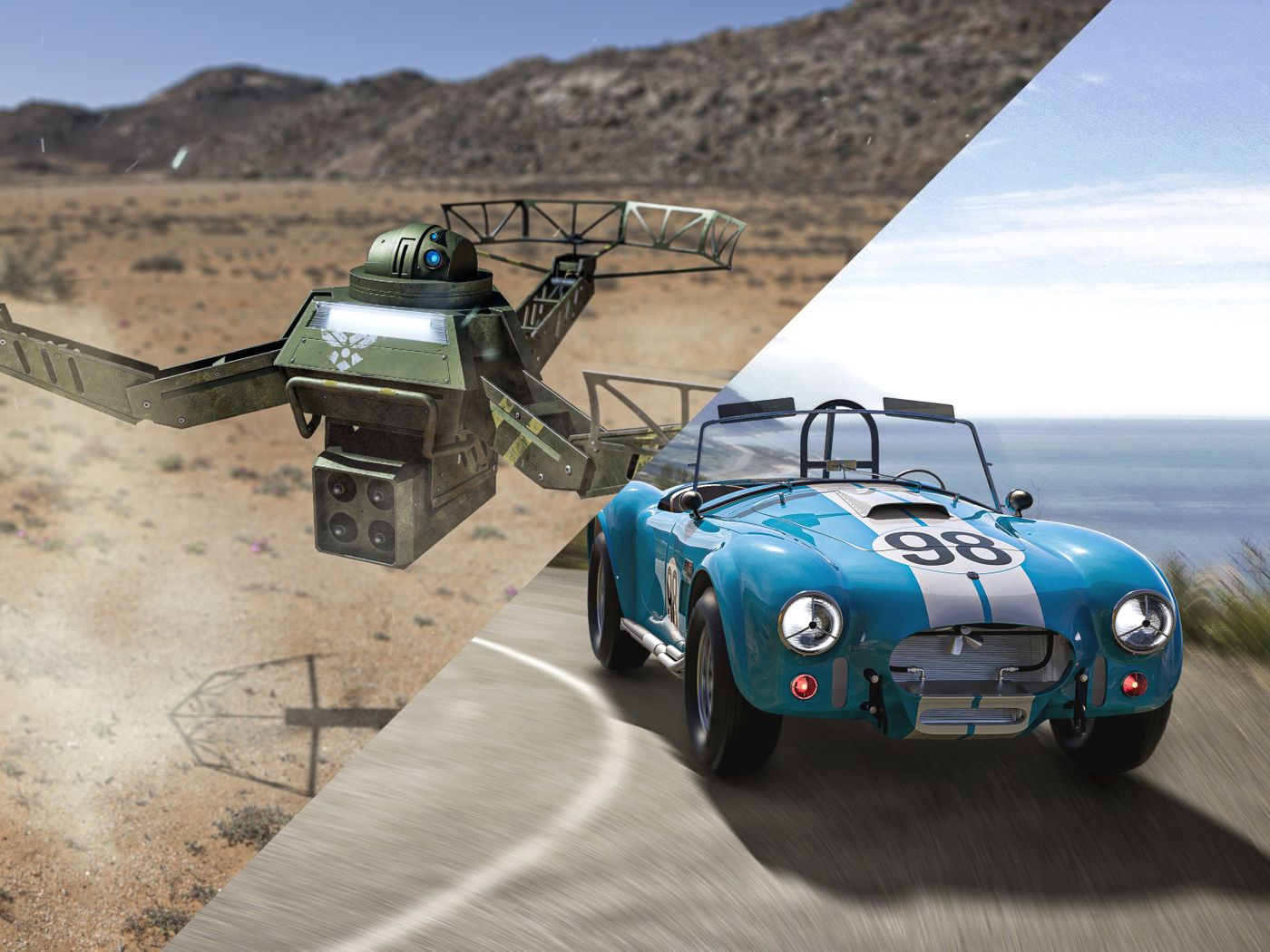 Hardsurface models of a sci-fi drone and a historical car