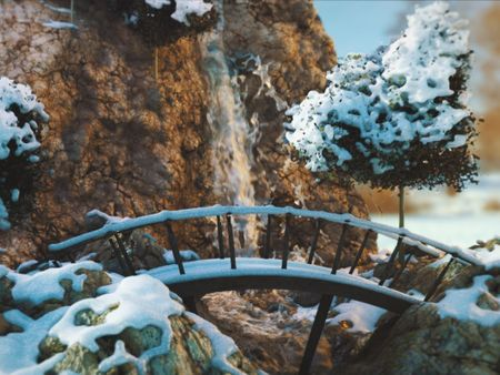 Procedural waterfall, winter environment and breakdowns