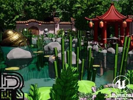 Stylized Chinese Garden Environment UE4
