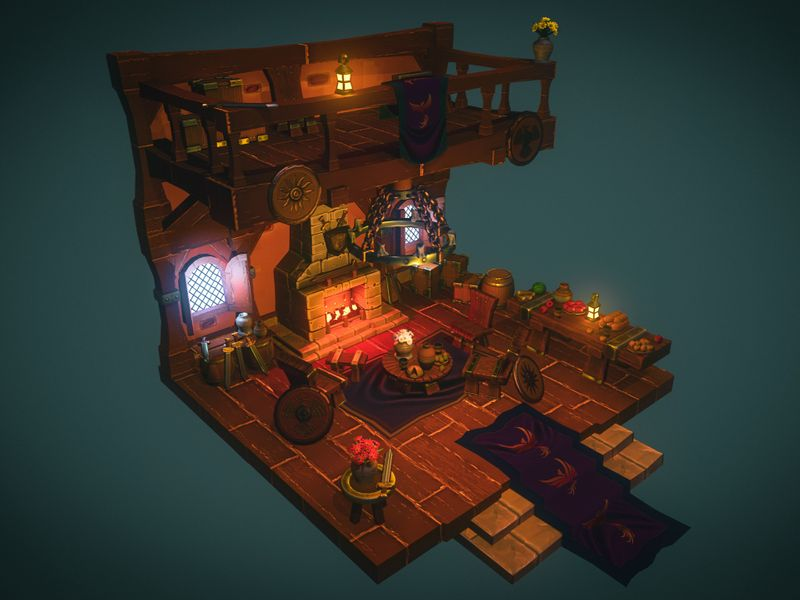 Warrior's Fireplace - Stylized Diorama