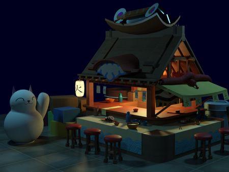 Sushi street bar diorama