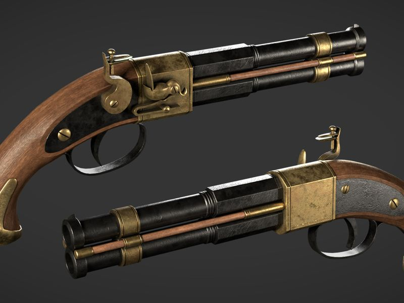 Double-Barrel Flintlock