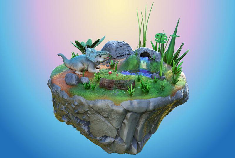 Baby Pachyrhinosaurus Diorama