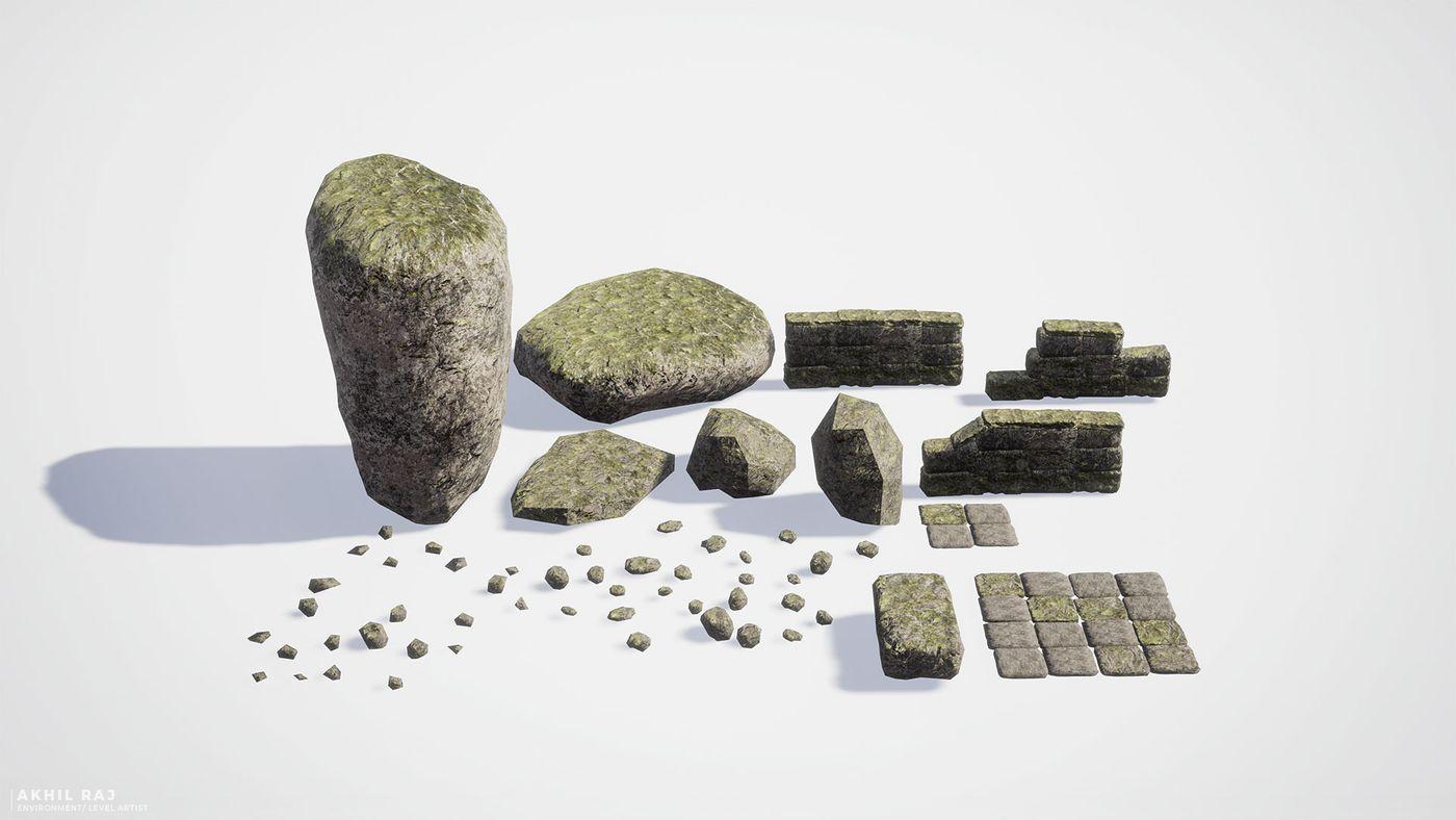 Woodland %28 Assets%20 %20 Rocks%20and%20 Stones%29 Akhilrajartwork