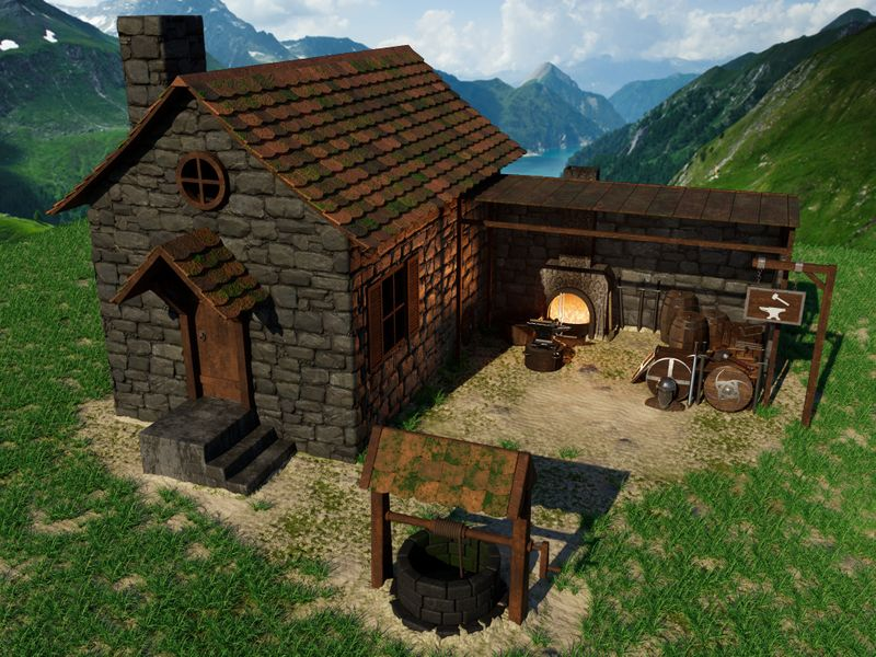 Medieval blacksmith workshop