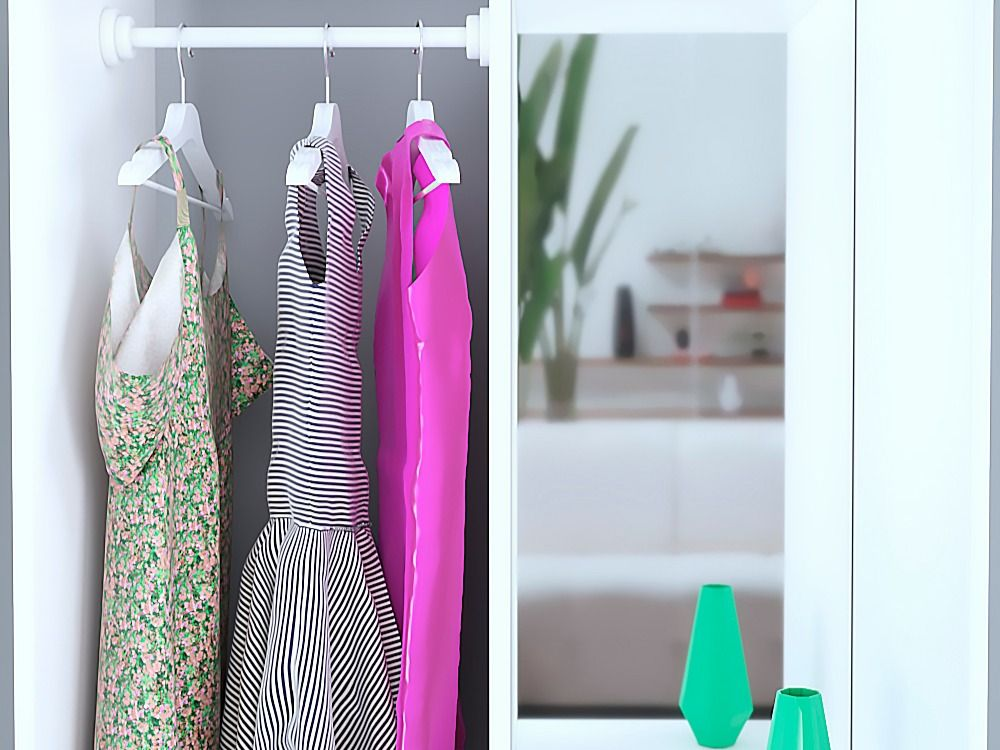 Wardrobe with clothes