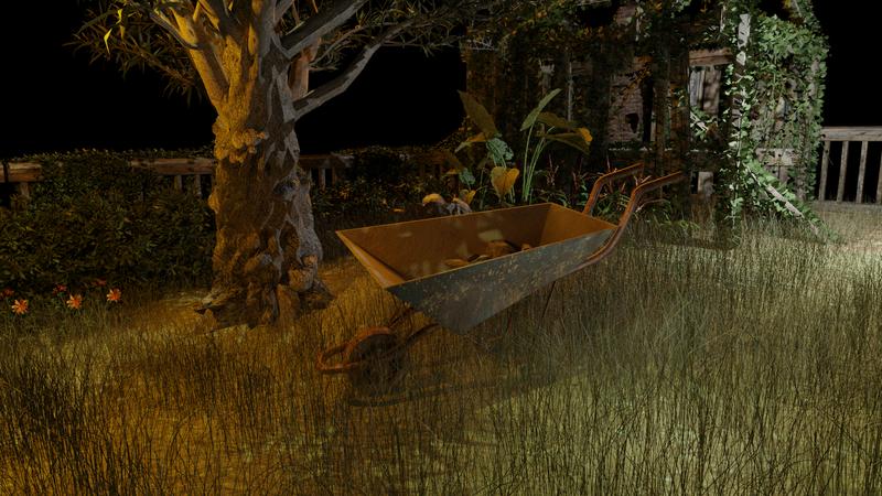 The rusty  wheelbarrow