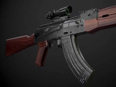 AK-47 rifle with attachments