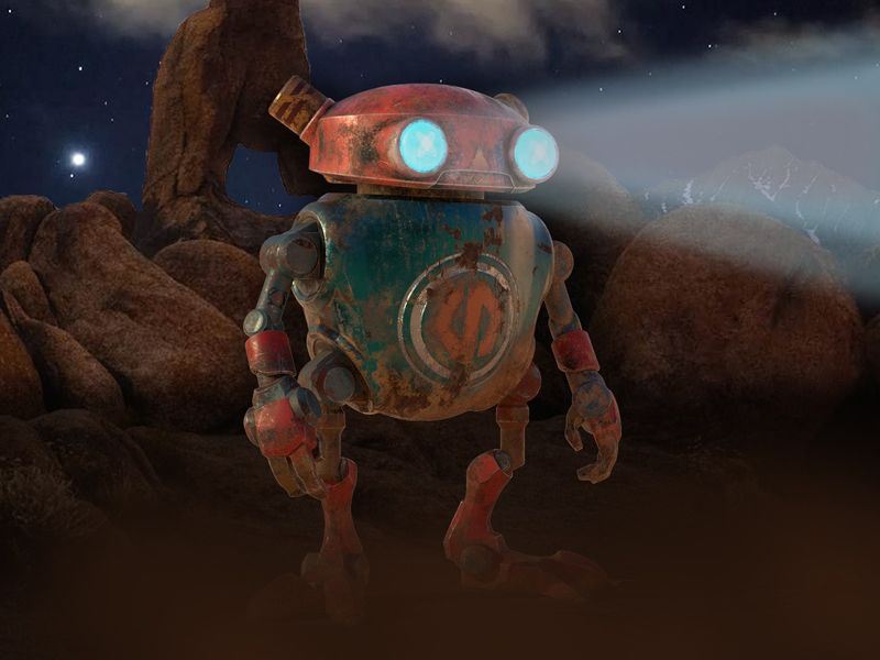 old robot  walking alone