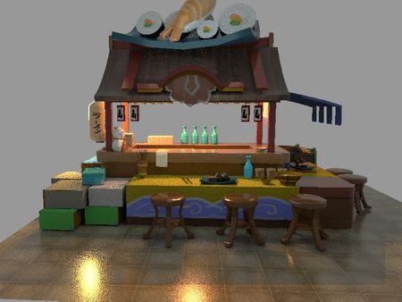 Sushi Temple 3D model javier Mollá García