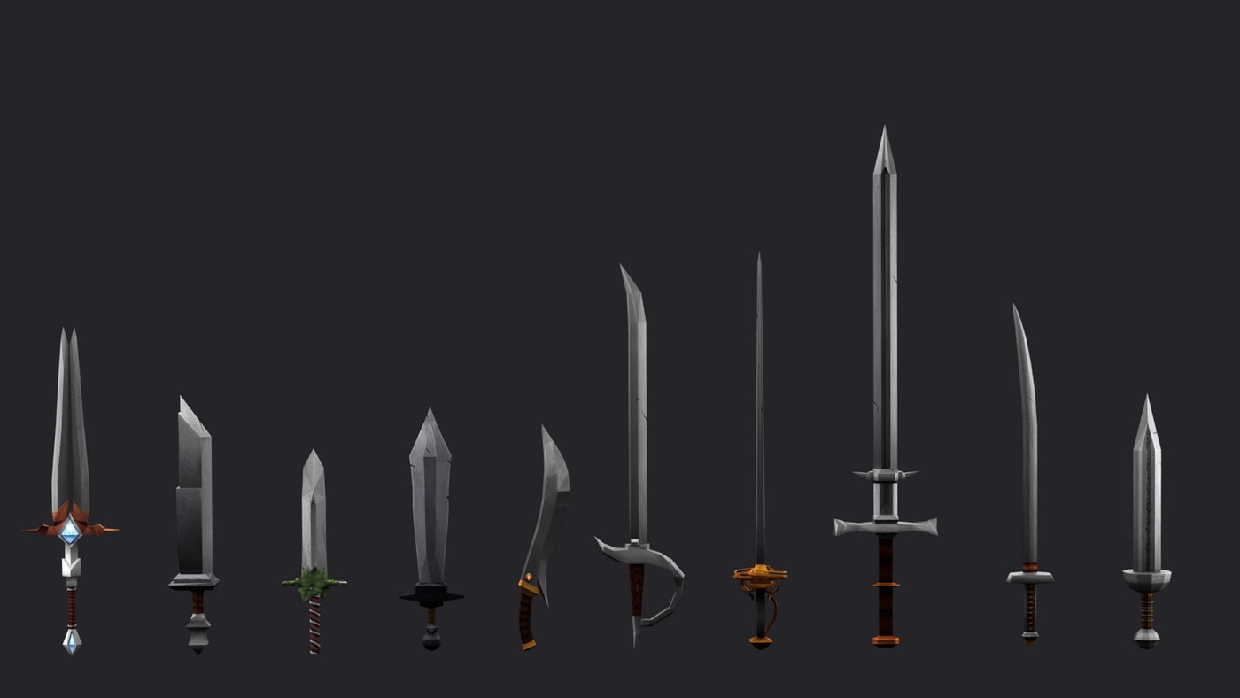 10 Low poly stylised swords pack