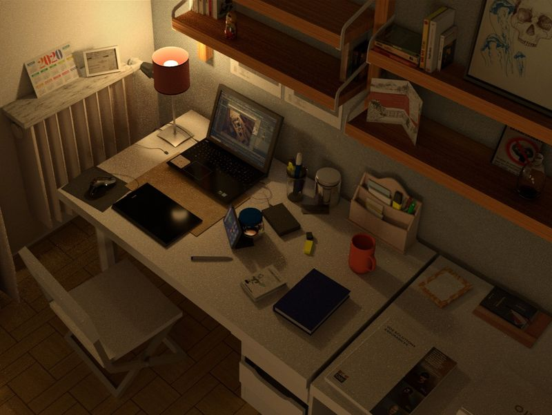 My desk by night
