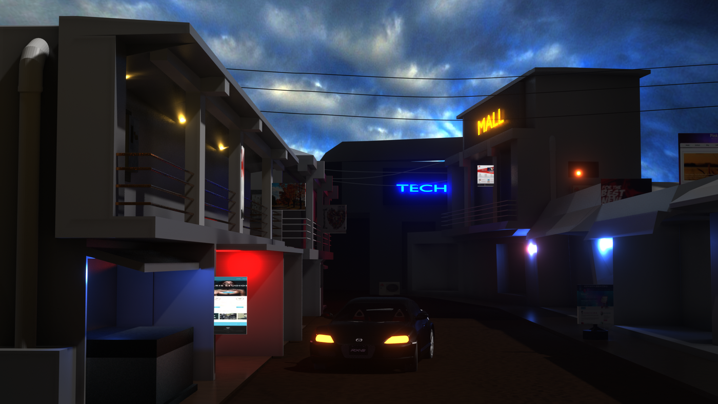 A 3d exterior scene of a shopping Complex.