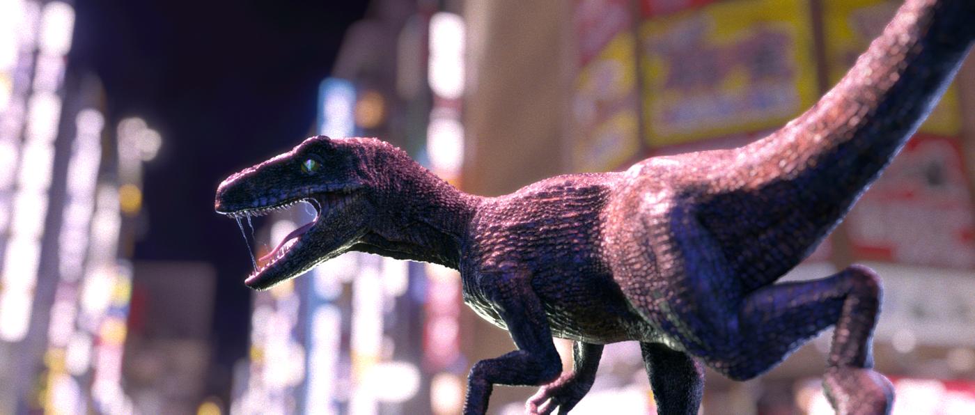 Velociraptor in the city