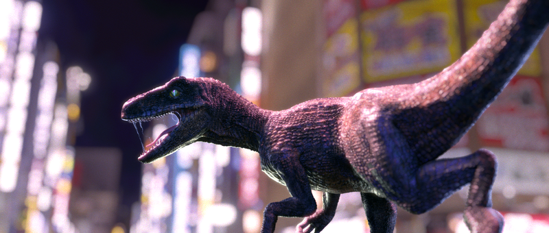Velociraptor in the city