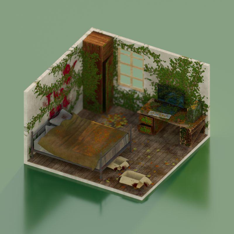 Apocalypse Bedroom   Isometric Bedroom