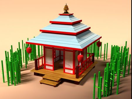 Asian building in cartoon style