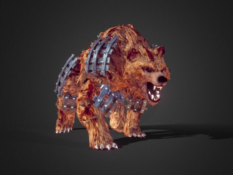 Armoured Spirit Bear Low Poly With Walk & Idle Cycles