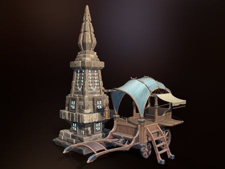 Traveling Wagon and Mystic Monument props