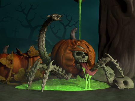 3D Enchanted Pumpkin - Halloween Monster Sculpture