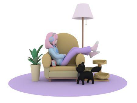 oc render on sofa
