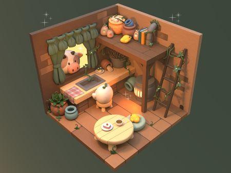 Stylized isometric kitchen