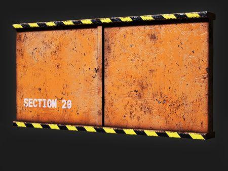Painted Worn Metal Barrier