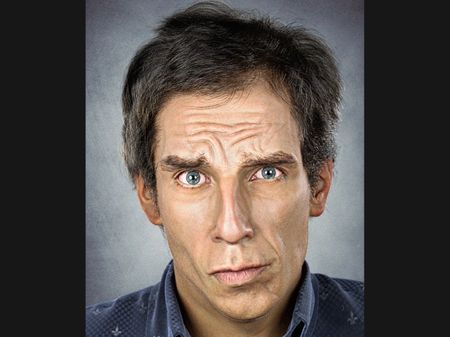Photorealistic digital 3D portrait of Ben Stiller