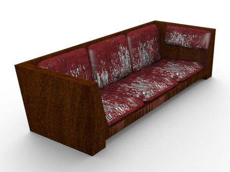 Wood & Red Leather Sofa 3D Model