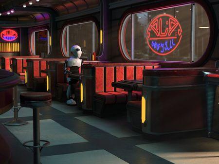 Retro Sci-Fi 3D Scene