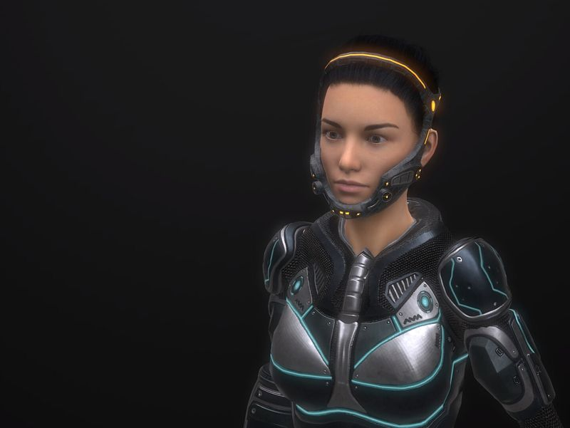 Sci Fi woman low poly whole character 23k