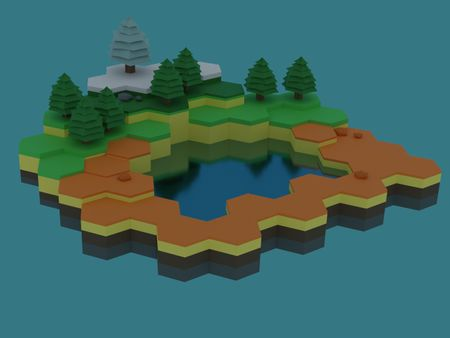 Low poly hexagon world
