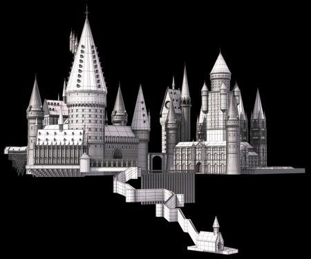 Hogwarts WIP#1 - Modelling (wireframe)