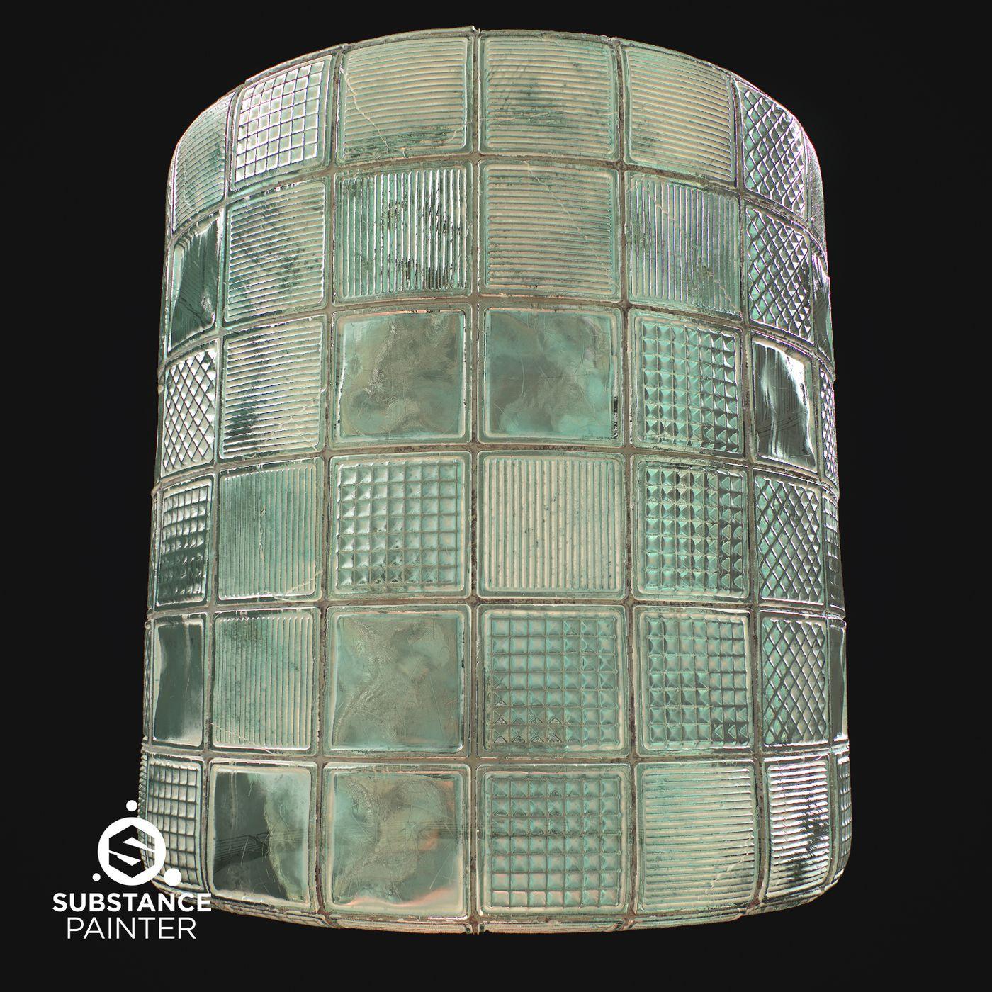 Glass Block Wall Cyl 001 Davidhartmann