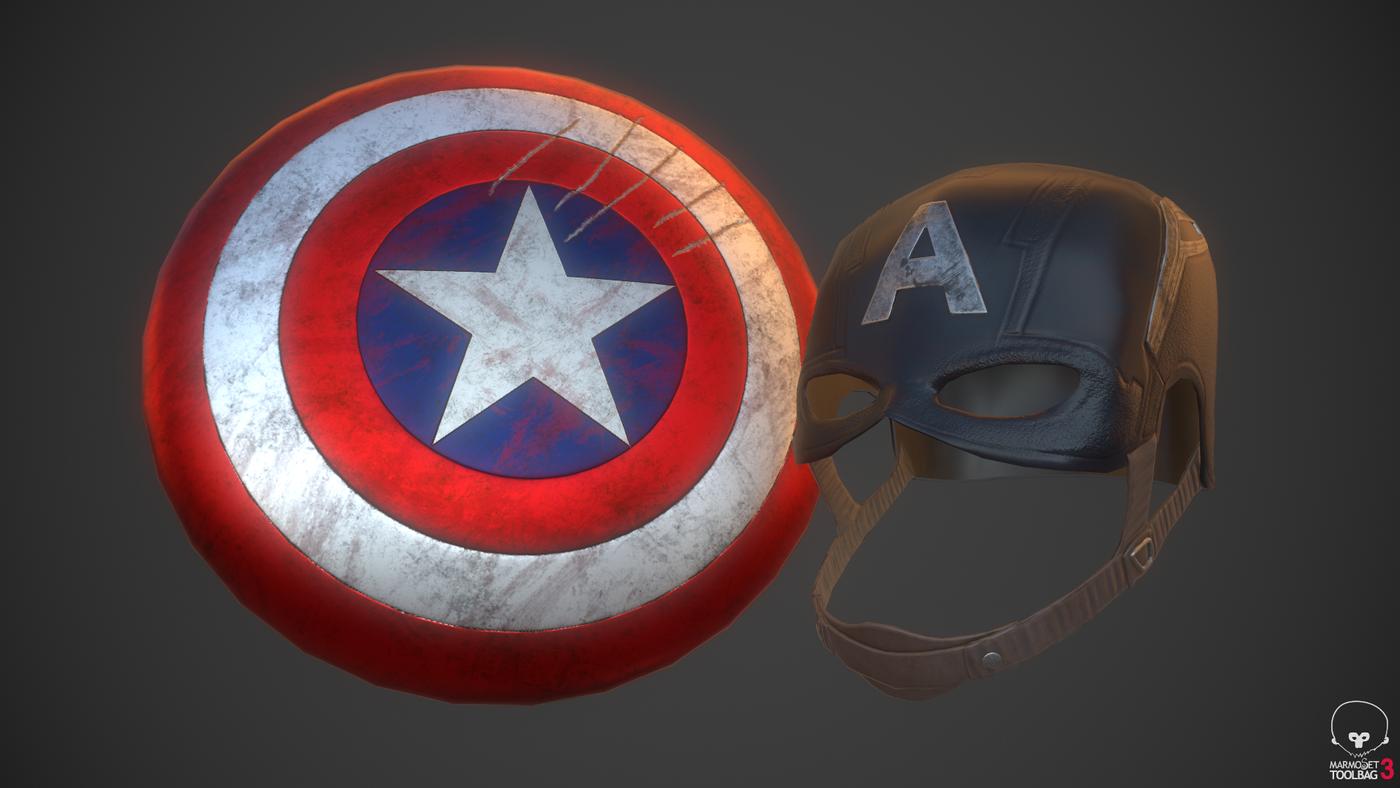 Captain America Shield & Helmet