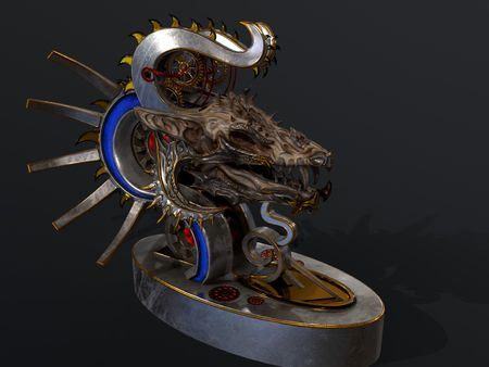 Clockwork vampire dragon statue