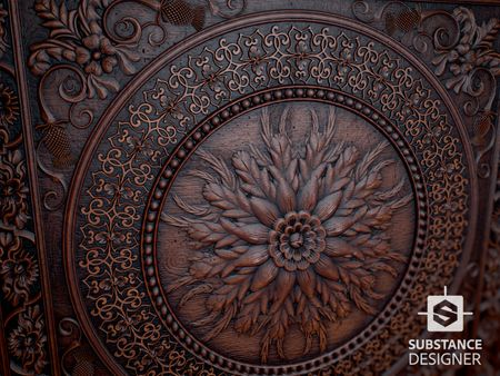 Carved Wood Pattern Material