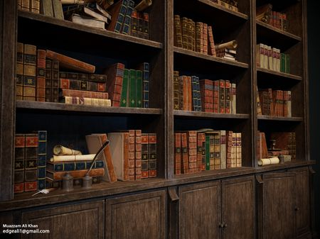 Harry Potter Hogwarts Classroom Bookshelf And Books - 3D Game Environment Props